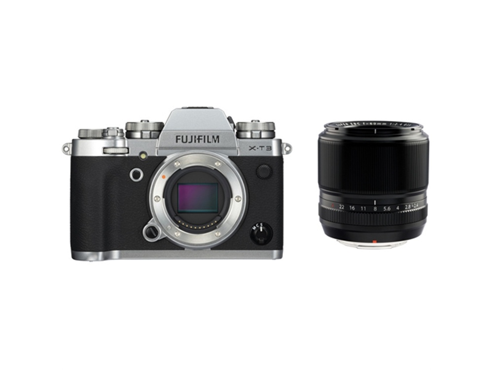 Fujifilm X-T3 Mirrorless Digital Camera (Silver) with XF 60mm f/2.4 Macro Lens