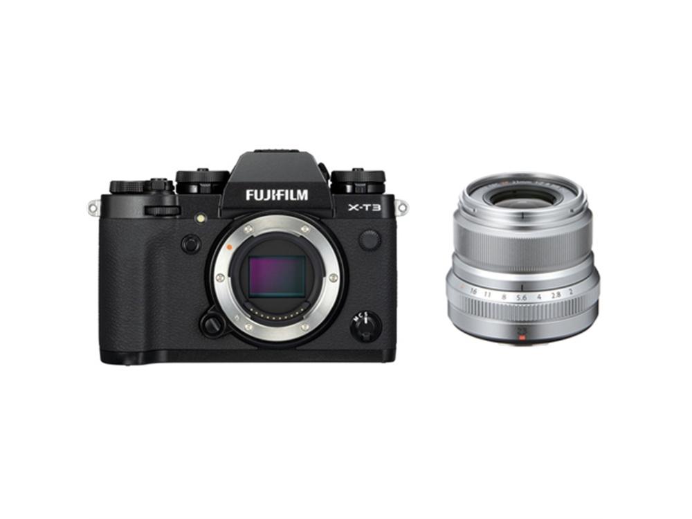 Fujifilm X-T3 Mirrorless Digital Camera (Black) with XF 23mm f/2 R WR Lens (Silver)