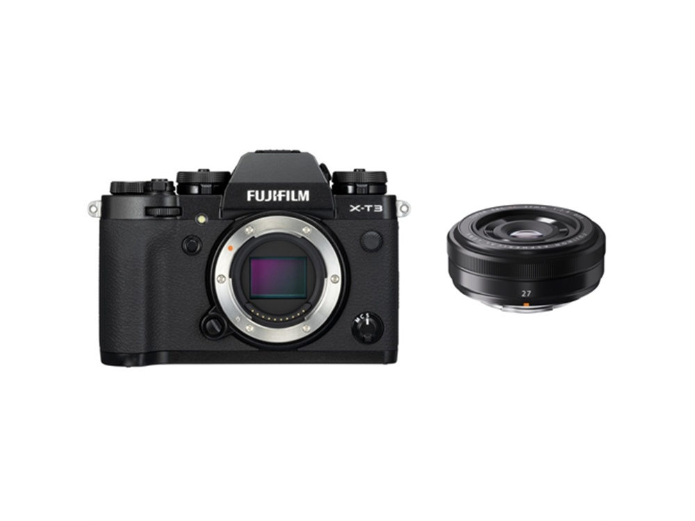 Fujifilm X-T3 Mirrorless Digital Camera (Black) with XF 27mm f/2.8 Lens (Black)