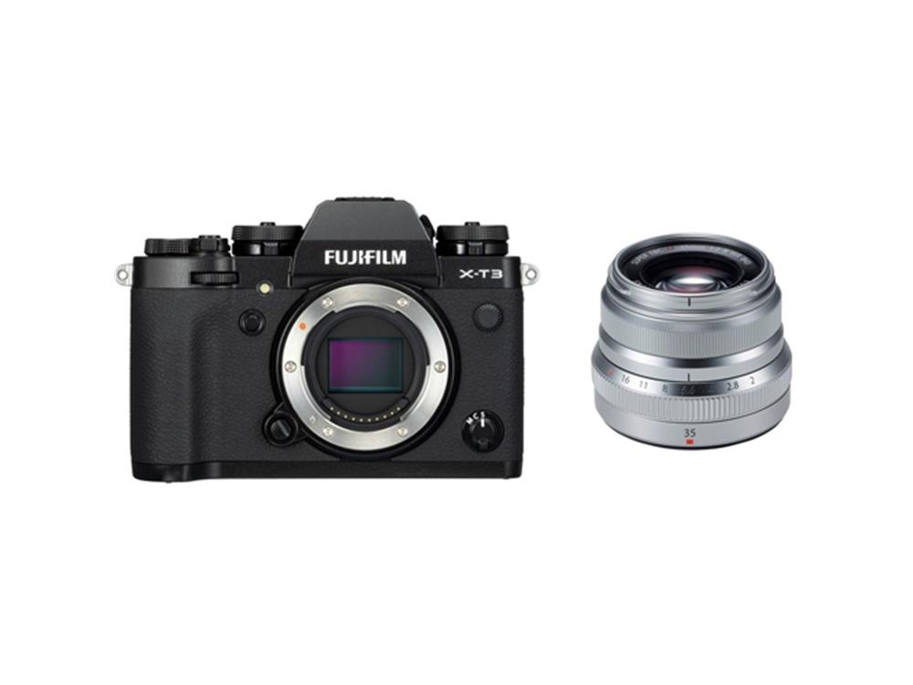 Fujifilm X-T3 Mirrorless Digital Camera (Black) with XF 35mm f/2 R WR Lens (Silver)