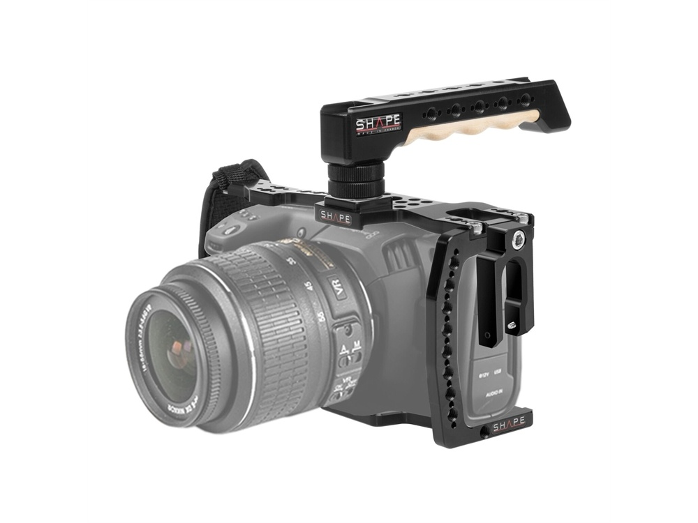 SHAPE Blackmagic Pocket Cinema 4K Camera Cage with Wooden Top Handle