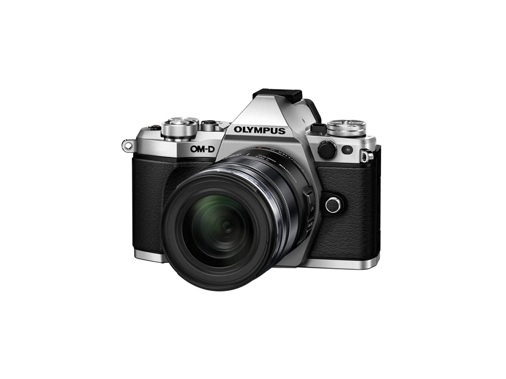 Olympus OM-D E-M5 Mark II Mirrorless Camera (Silver) with 12-50mm Lens (Black)