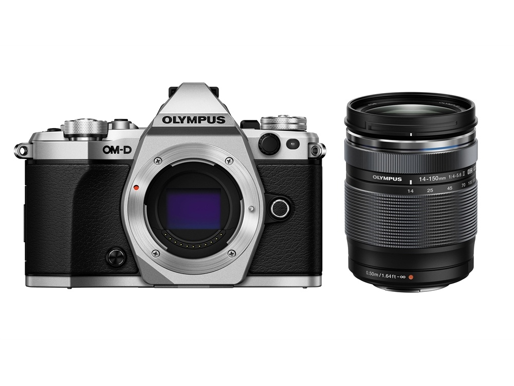 Olympus OM-D E-M5 Mark II Mirrorless Camera (Silver) with 14-150mm lens (Black)