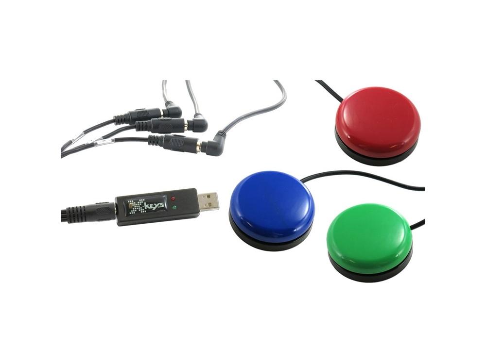 X-keys USB 3-Switch Interface Bundle with 3 Orby Switches & TRRS 3-W