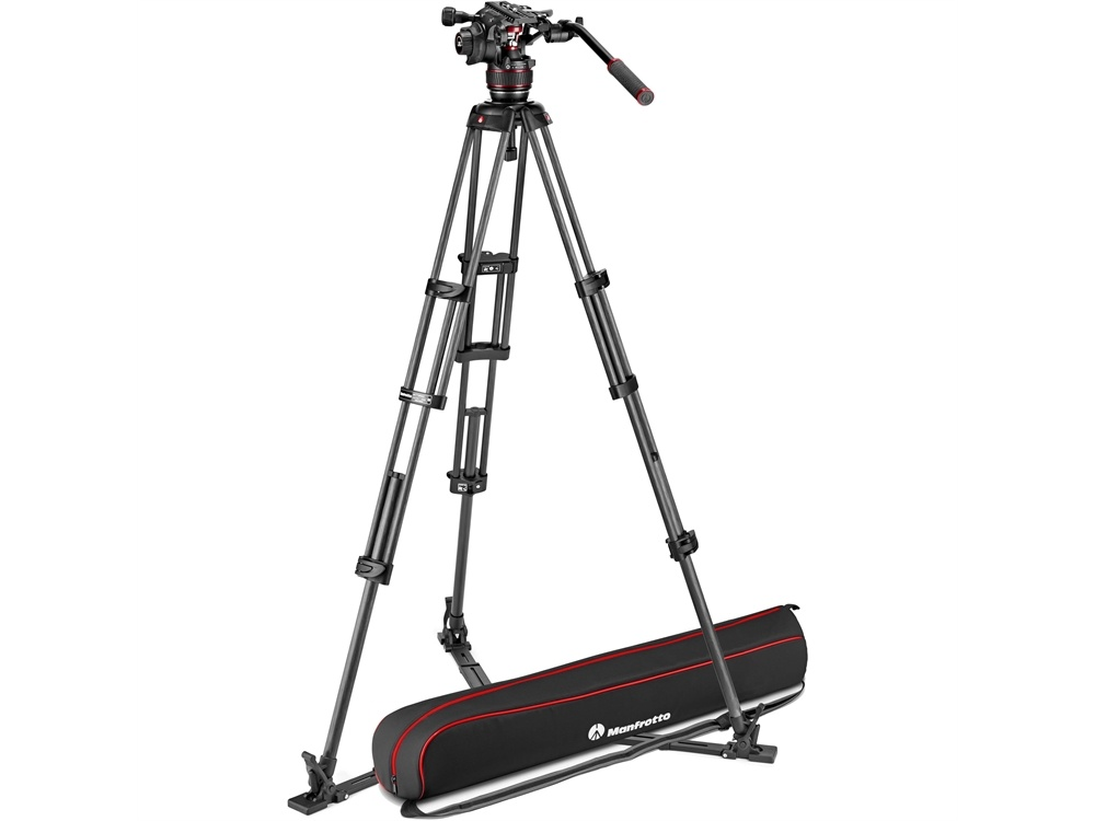 Manfrotto Nitrotech 608 Fluid Video Head and Carbon Fiber Twin Leg Tripod with Ground Spreader