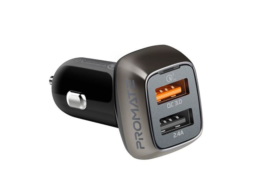 Promate Car Charger with Dual USB Ports (30W)