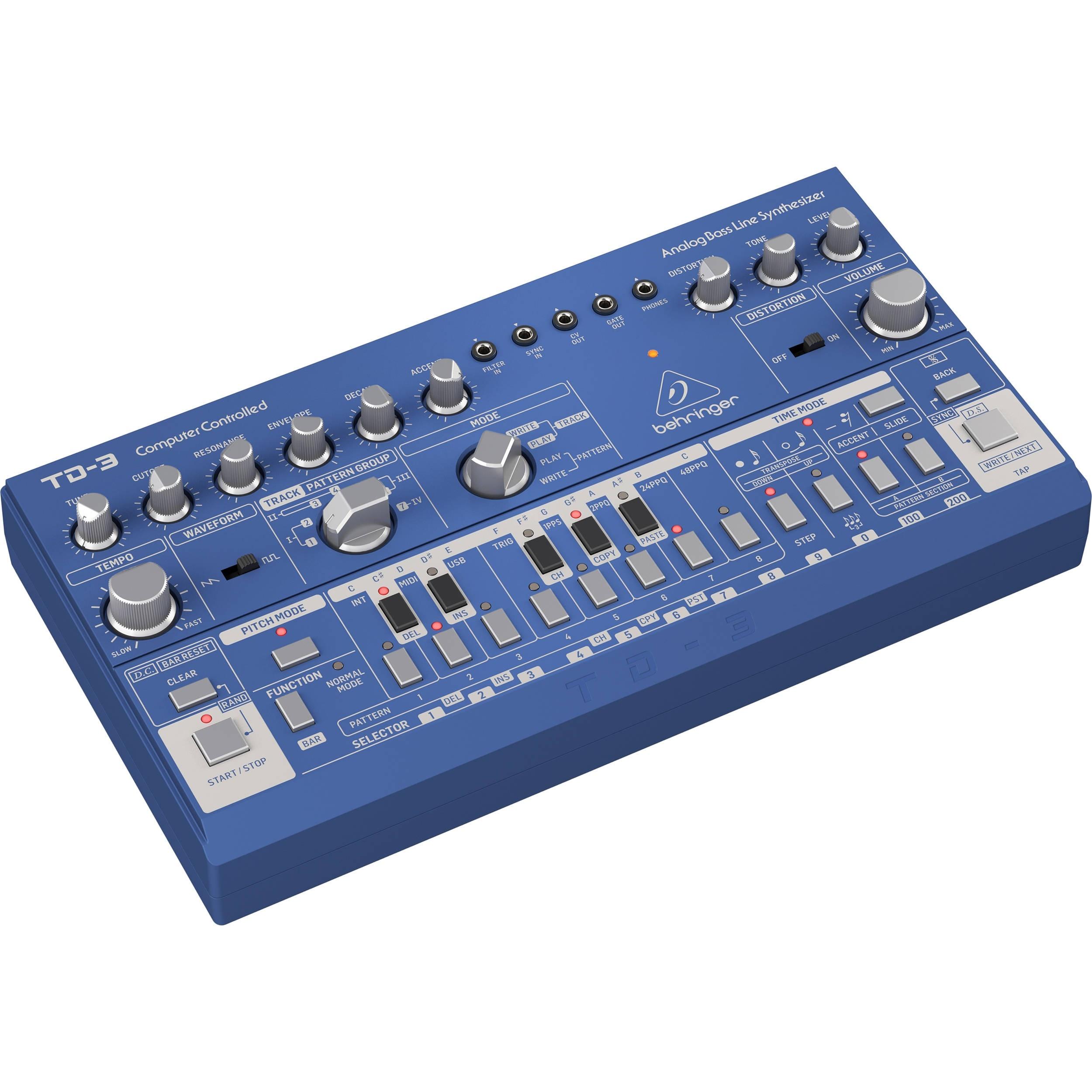 Behringer TD-3 Analog Bass Line Synthesizer (Blue)