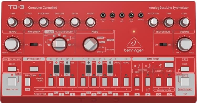 Behringer TD-3 Analog Bass Line Synthesizer (Red)
