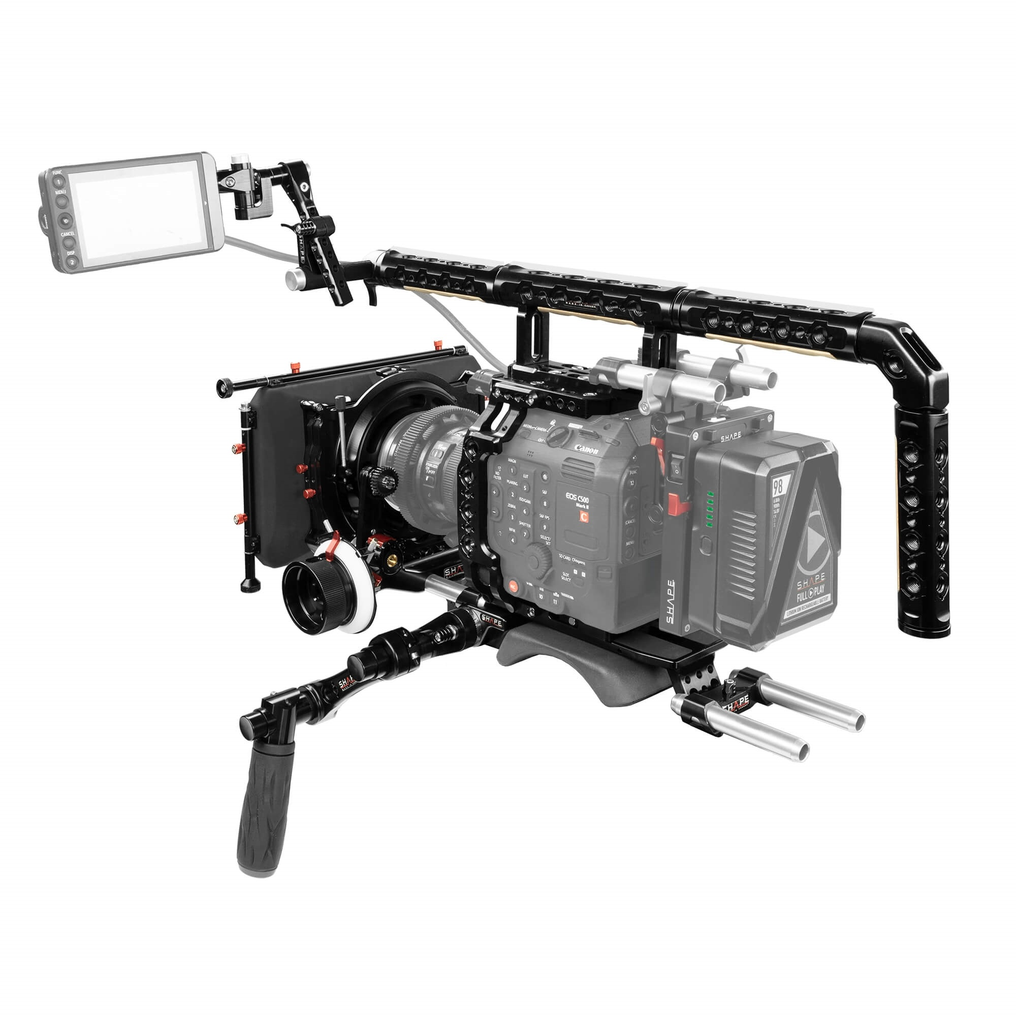 "SHAPE Canon C500 Mark II Baseplate w/ Cage, Top Handle Long VF, 4 x 5.6"" Matte Box, Follow Focus Pro"