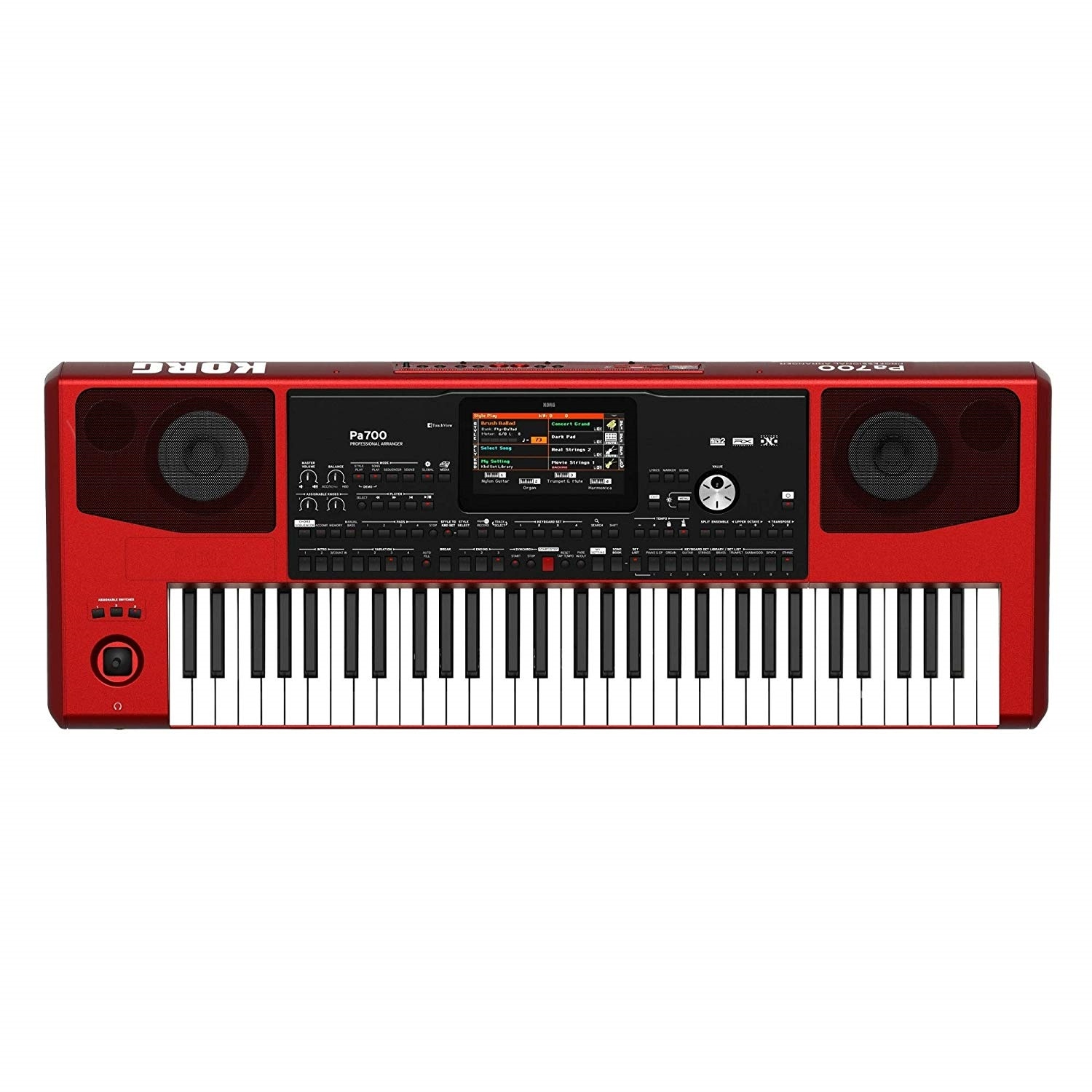 Korg Pa700 61-Key Professional Arranger with Touchscreen and Speakers (Red)