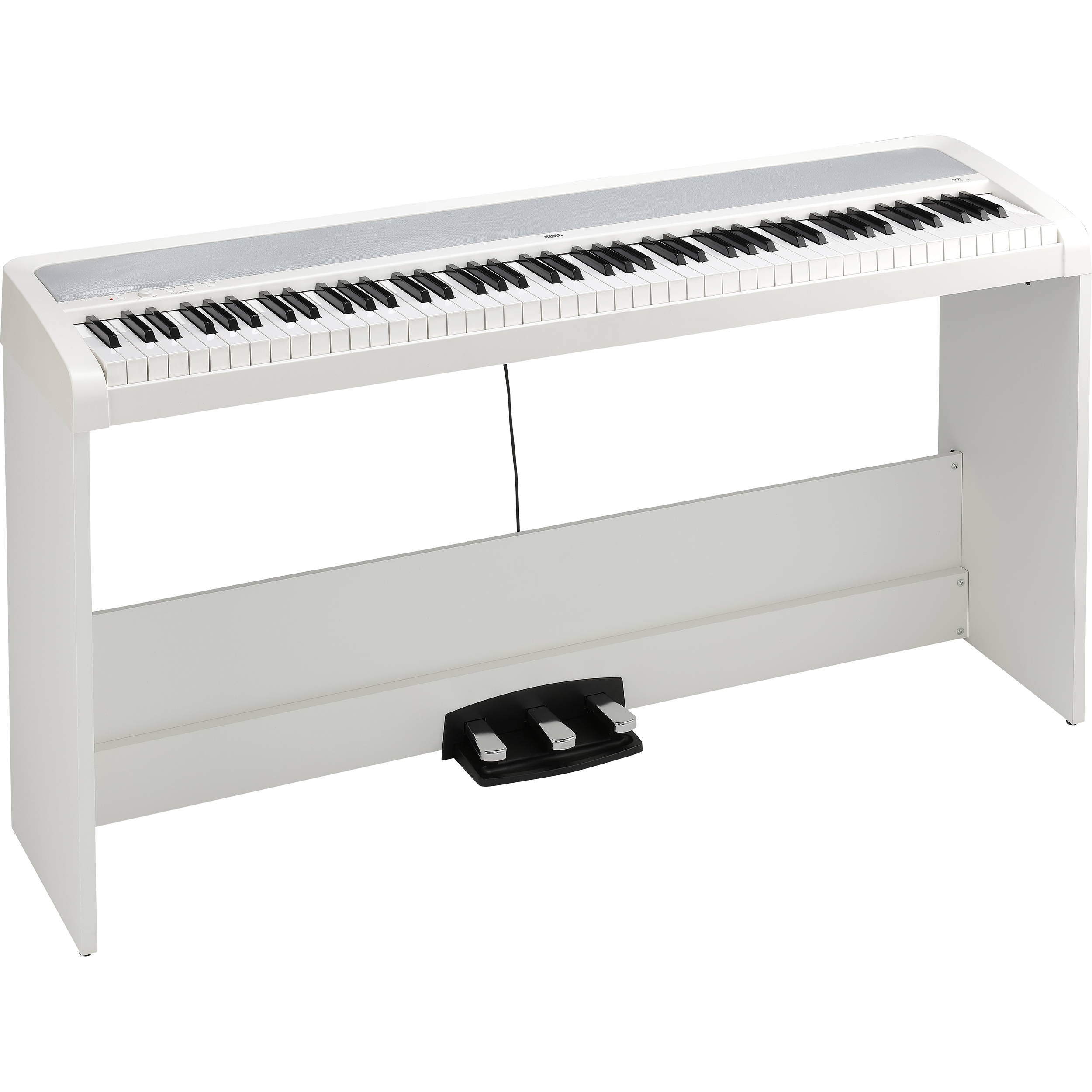 Korg B2SPWH 88-Key Digital Piano with Stand and Three-Pedal System (White)