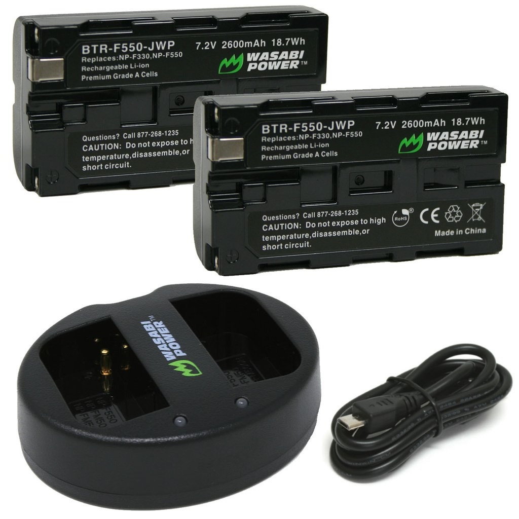 Wasabi Power Battery (2-pack) and Dual Charger for Sony NP-F550