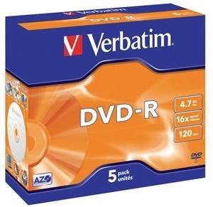 Verbatim DVD-R 4.7GB 16x 5 Pack with Jewel Cases