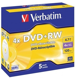Verbatim DVD+RW 4.7GB 4x 5 Pack with Jewel Cases