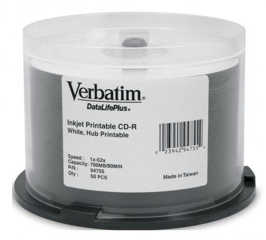 Verbatim CD-R 52x White Printable, Super Azo Dye 50 Pack on Spindle
