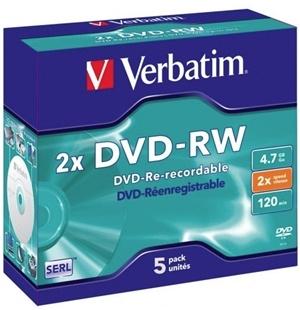 Verbatim DVD-RW 4.7GB 2x 5 Pack with Jewel Cases