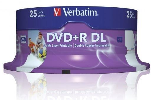 Verbatim DVD+R DL 8.5GB 10x White Wide Printable 25 Pack on Spindle