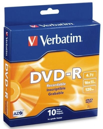 Verbatim DVD-R 4.7GB 16x 10 Pack on Spindle