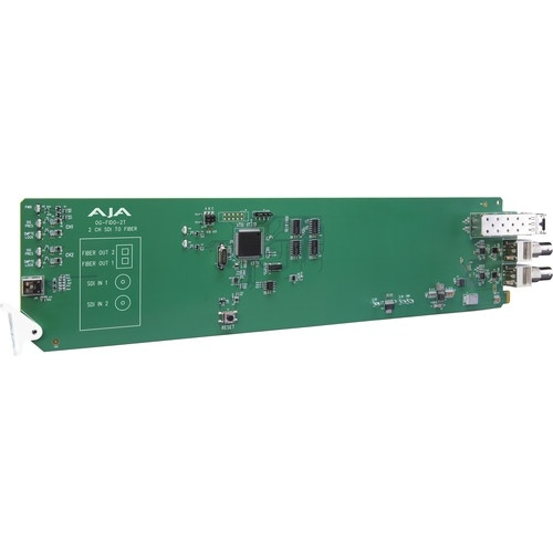 AJA openGear 2-Channel 3G-SDI to Multi-Mode LC Fiber Transmitter with DashBoard Support
