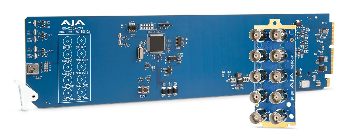 AJA openGear Dual 1x4 12G-SDI Distribution Amplifier
