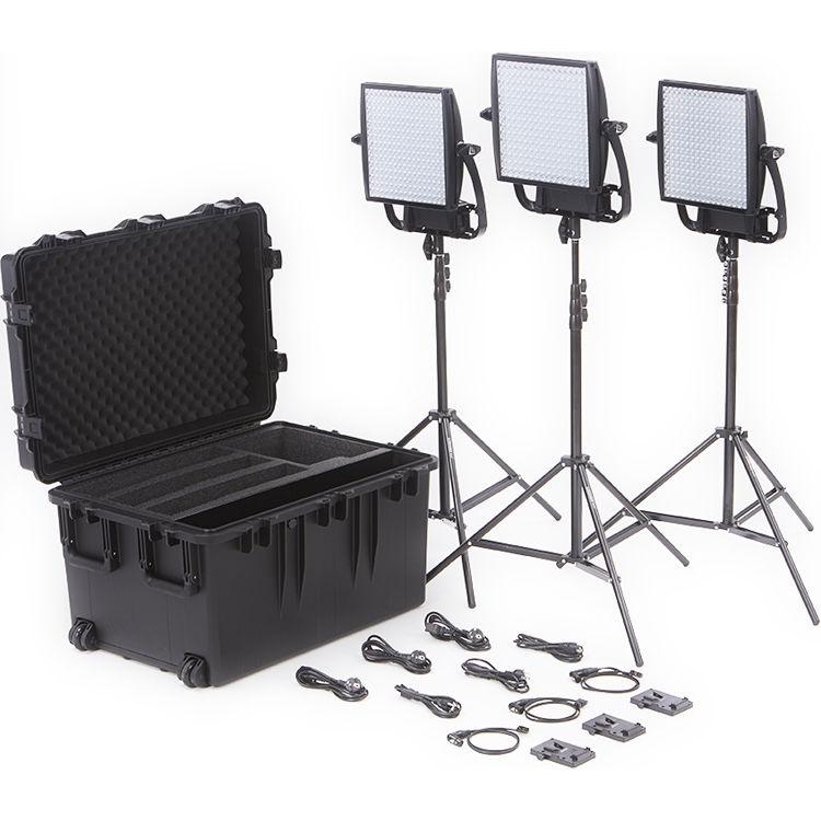 Litepanels Astra 6X Traveler Bi-Colour Trio 3-Light Kit with V-Mount Battery Plates