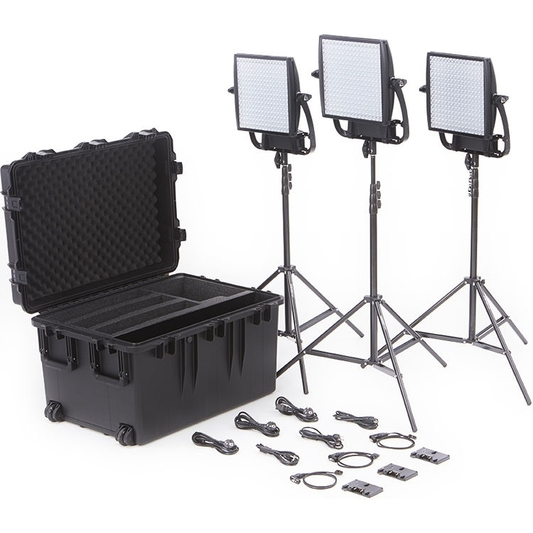 Litepanels Astra 3X Traveler Bi-Colour Trio 3-Light Kit with Gold Mount Battery Brackets