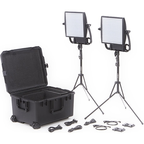 Litepanels Astra 3X Traveler Bi-Colour Duo 2-Light Kit with V-Mount Battery Brackets
