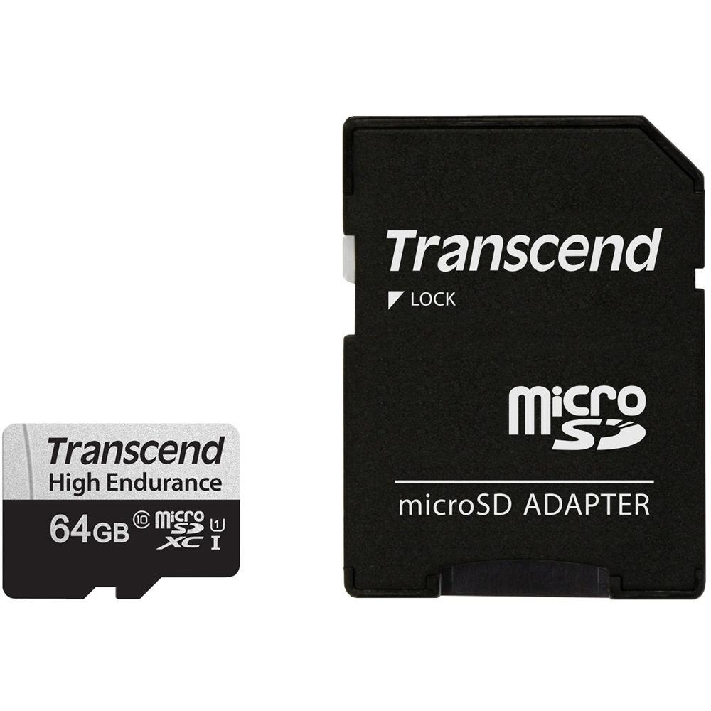 Transcend 64GB High Endurance 350V UHS-I microSDXC Memory Card
