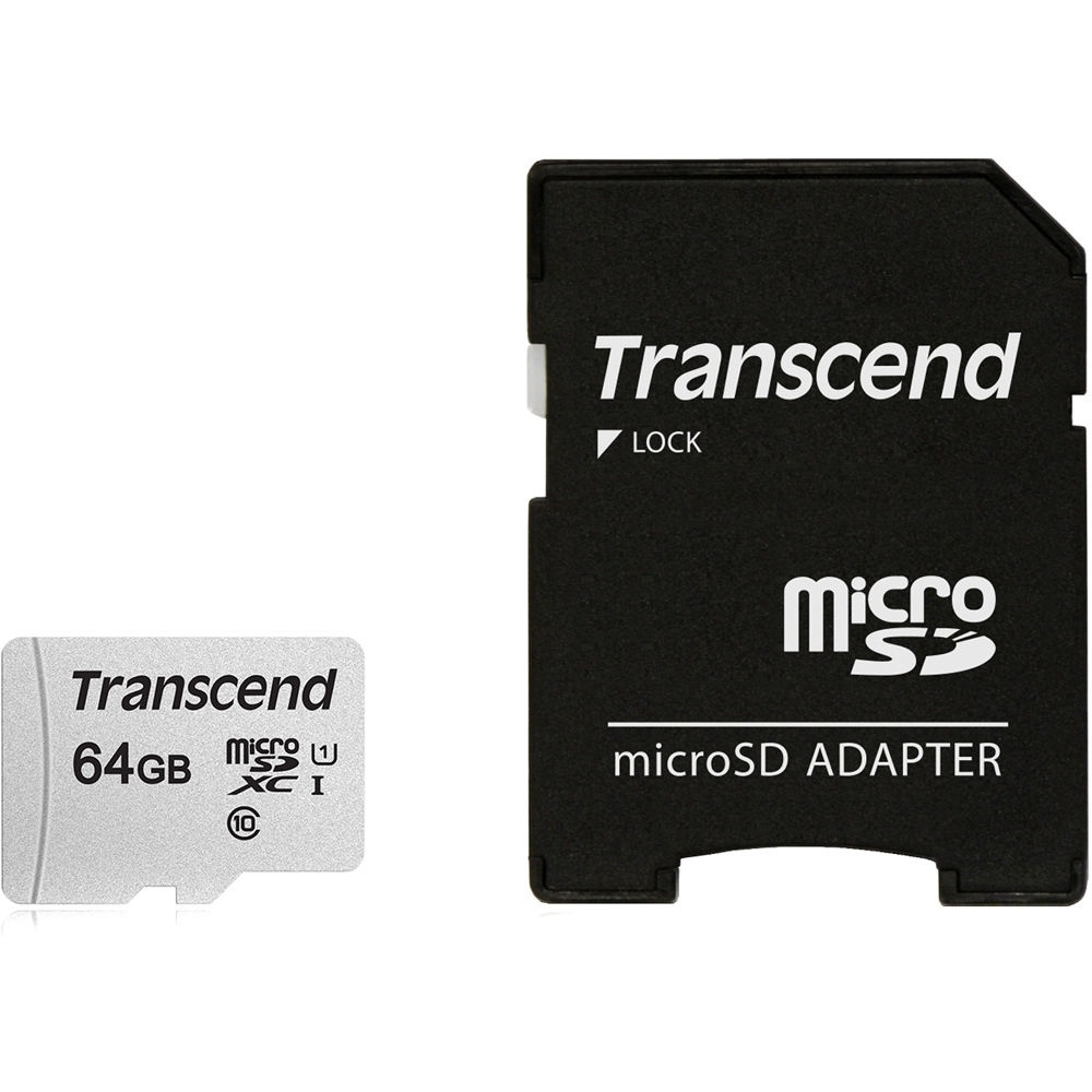 Transcend 64GB 300S UHS-I microSDXC Memory Card with SD Adapter