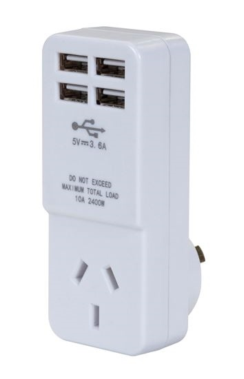 DYNAMIX USB Wall Charger with 4 USB Outlets and 1 Main Power Socket