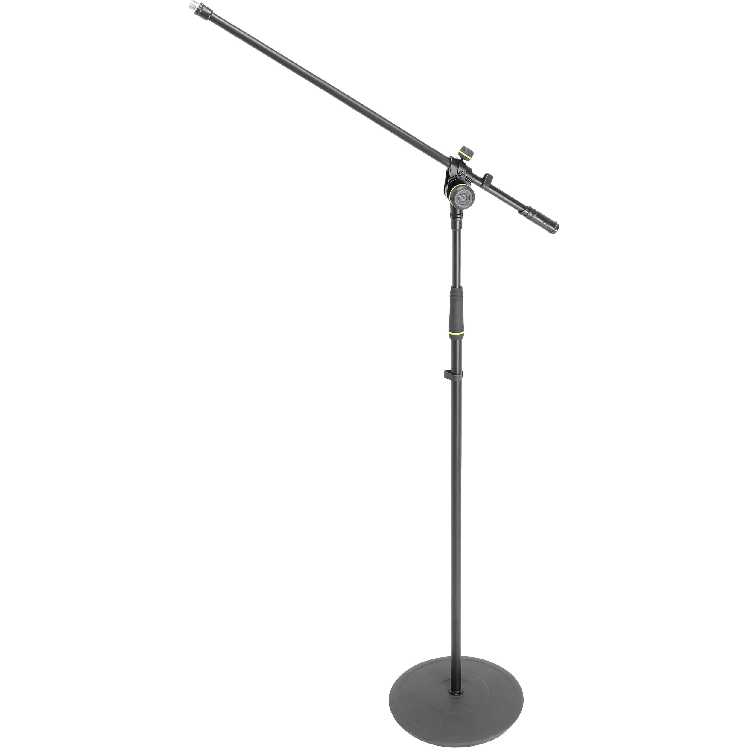 Gravity Microphone Stand with Round Base and 2-Point Adjustment Boom