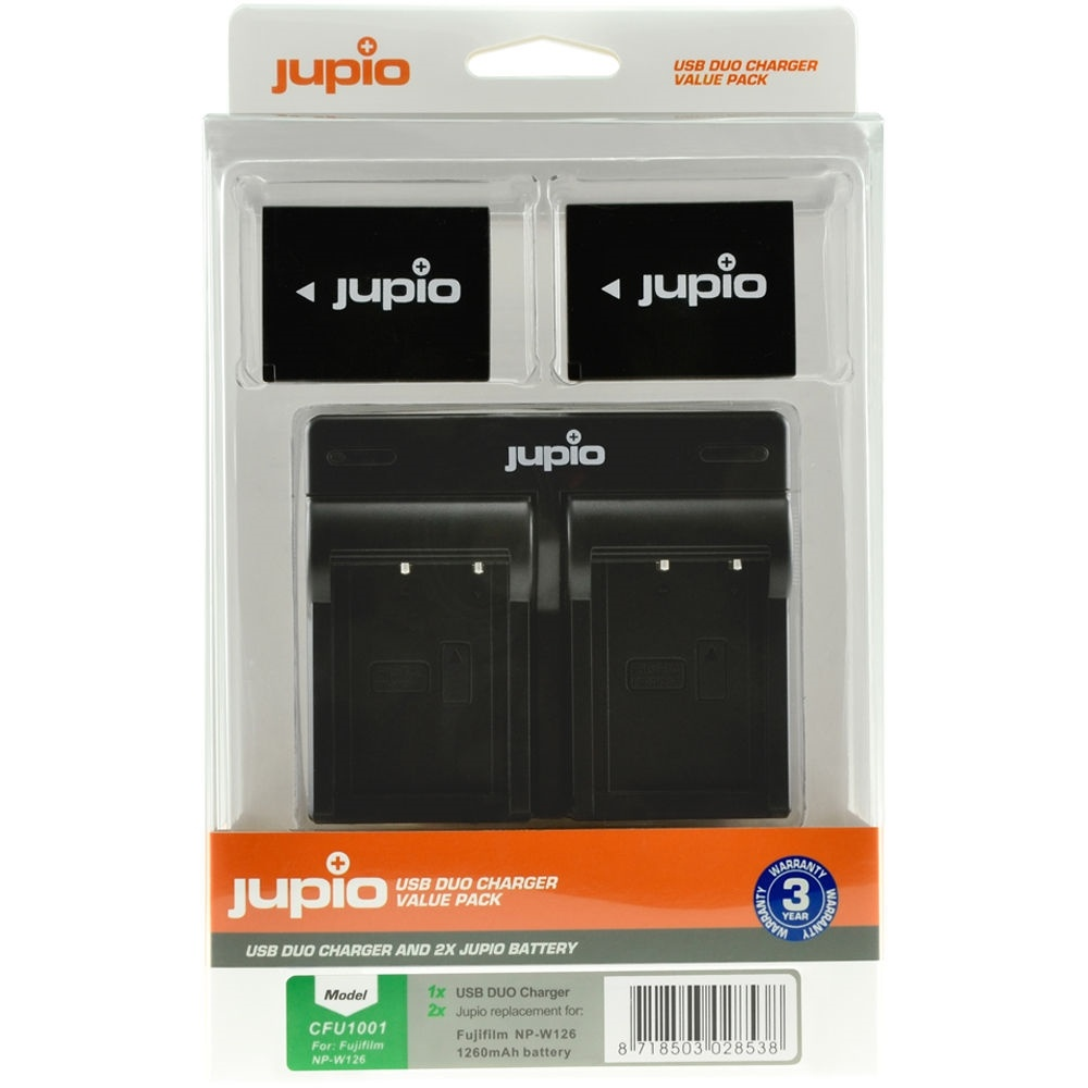 Jupio Pair of NP-W126S Batteries & USB Dual Charger Value Pack (1260mAh)