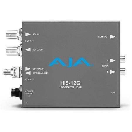 AJA Hi5-12G-R-ST 12G-SDI to HDMI 2.0 Mini-Converter with ST Fiber Receiver