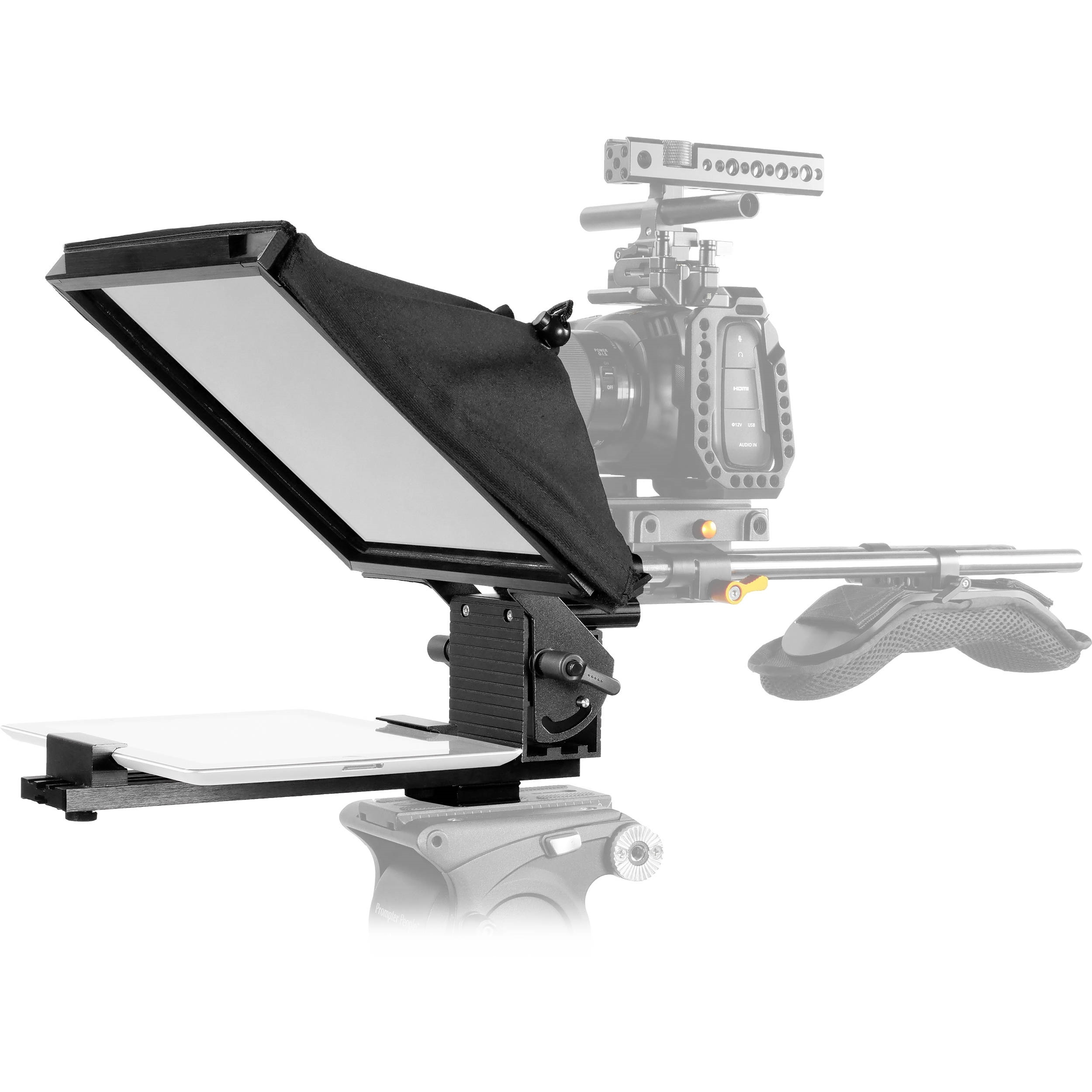 "Prompter People Prompter Pal PAL-iPAD-15mm Teleprompter w/ Tablet Cradle, 10 x 10"", 15mm Rod Block"
