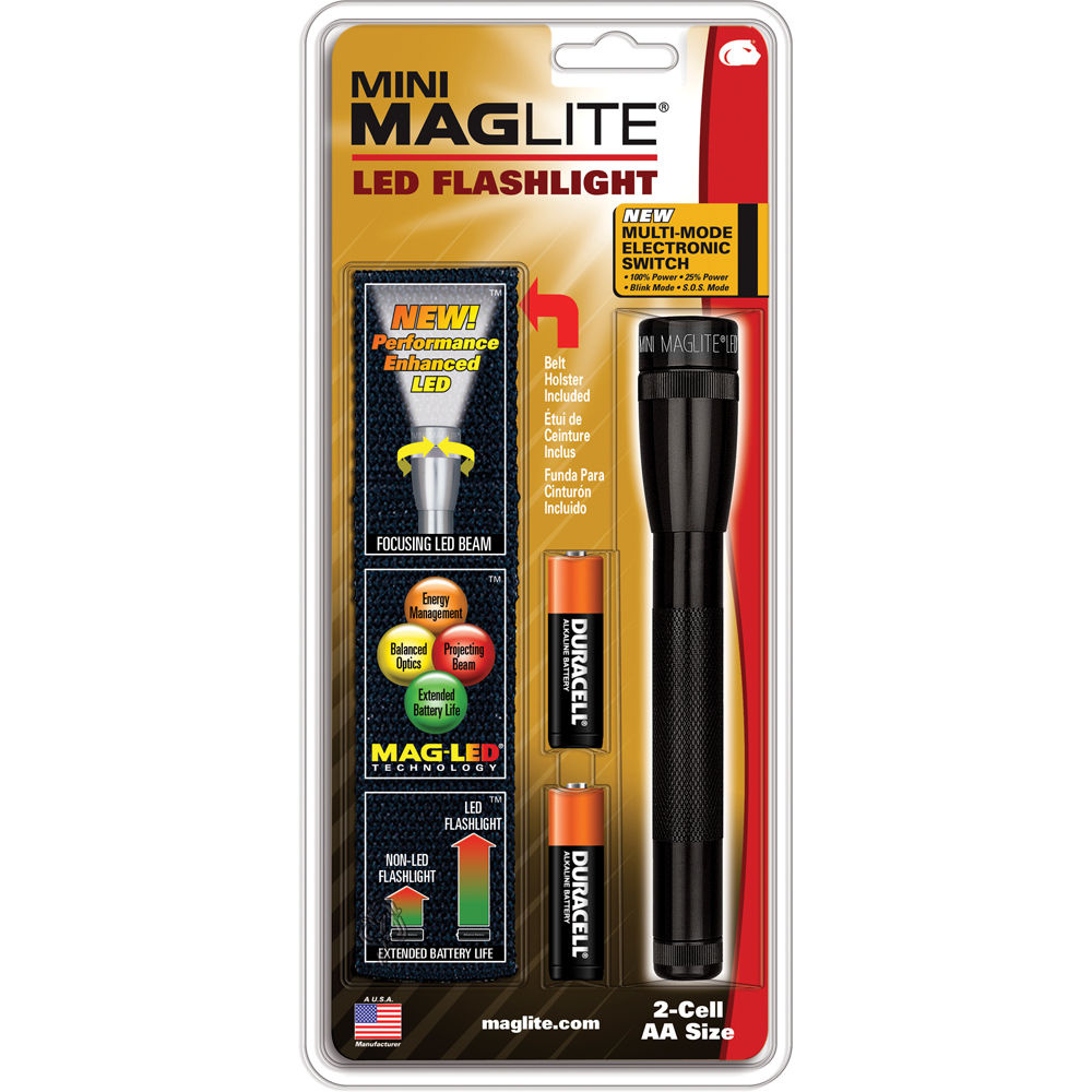 Maglite Mini Maglite LED Flashlight With Holster (Black)