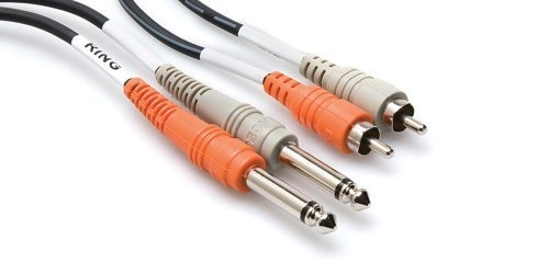 "Hosa CPR-203 Two 1/4"" Phone Male to Two RCA Male Unbalanced Cable (Moulded Plugs) - 10'"