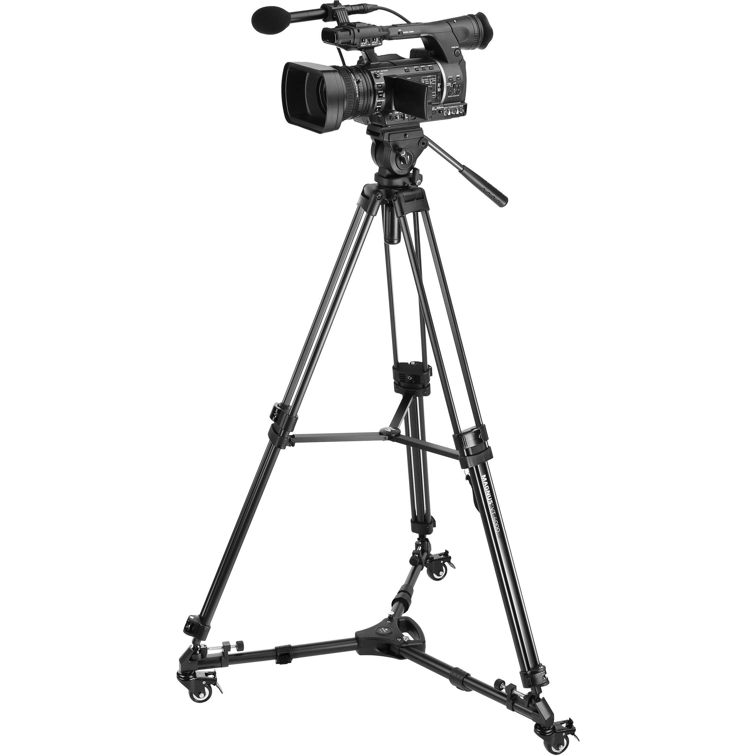 Magnus VT-4000 Tripod System Kit with Fluid Video Head, Dolly, and Pan Bar