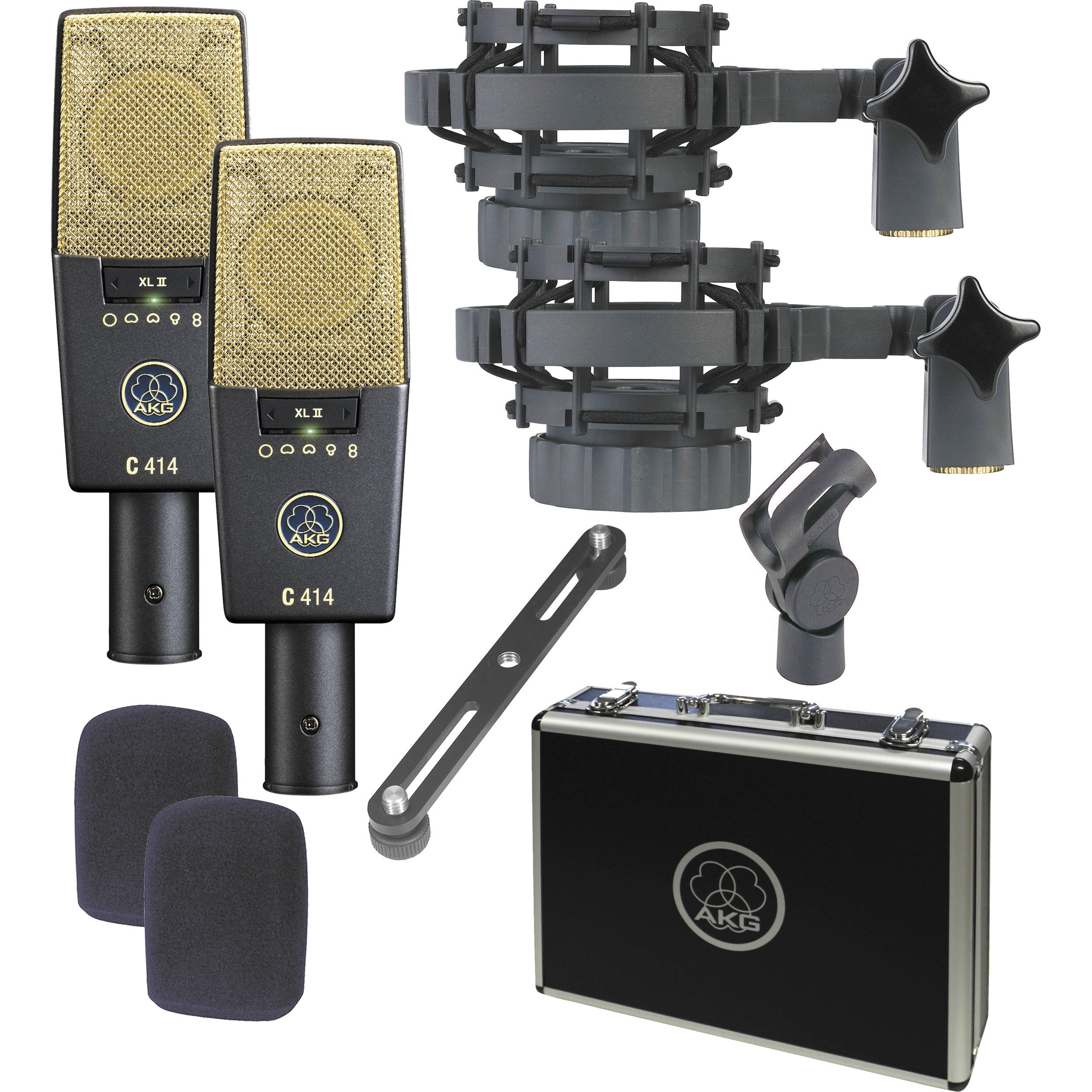 AKG C 414 XL II/ST Large Diaphragm Condenser Microphone (Matched Pair)