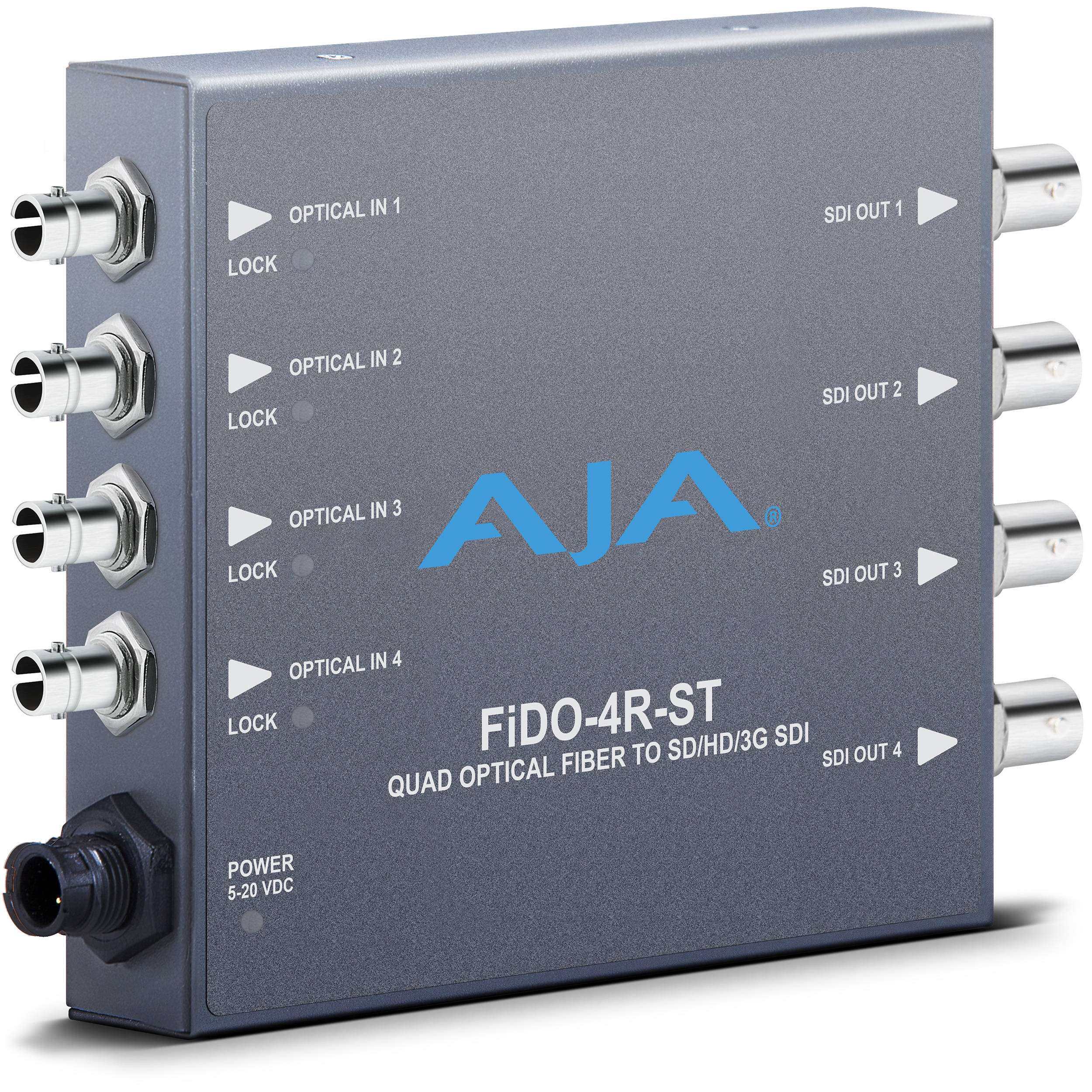 AJA FiDO Quad Channel ST Fiber to 3G-SDI Mini Converter