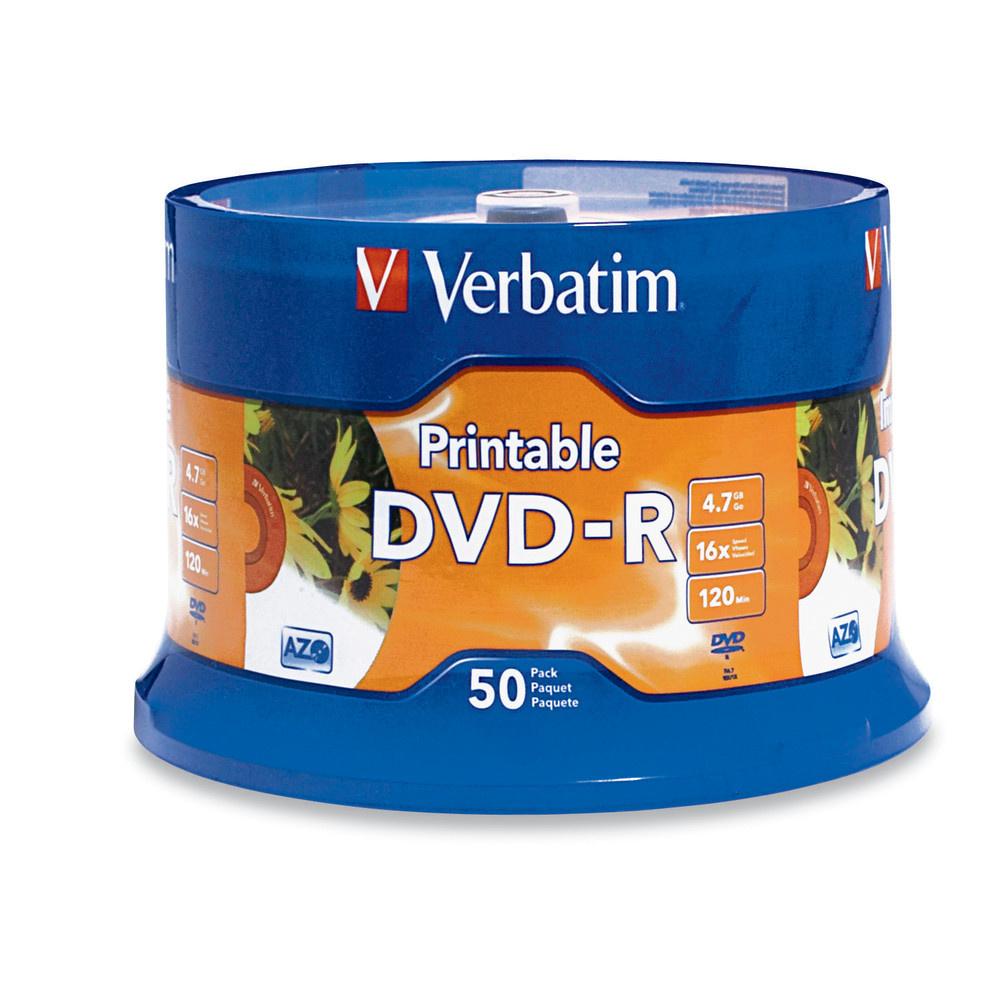 Verbatim DVD-R 4.7GB 16X White Inkjet Printable 50-pack Spindle