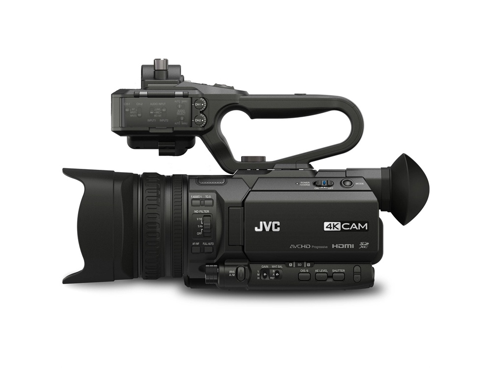 JVC GY-HM170E 4KCAM Compact Professional Camcorder with Top Handle Audio Unit