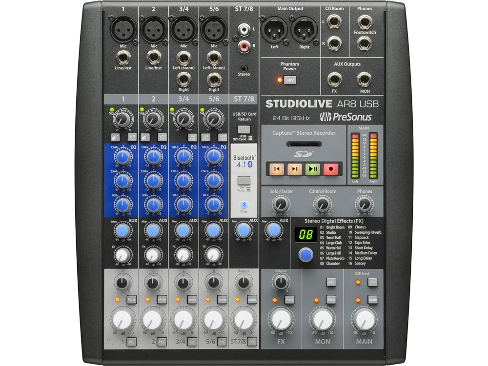 PreSonus AR8 Studiolive USB 8-Channel Performance and Recording Mixer
