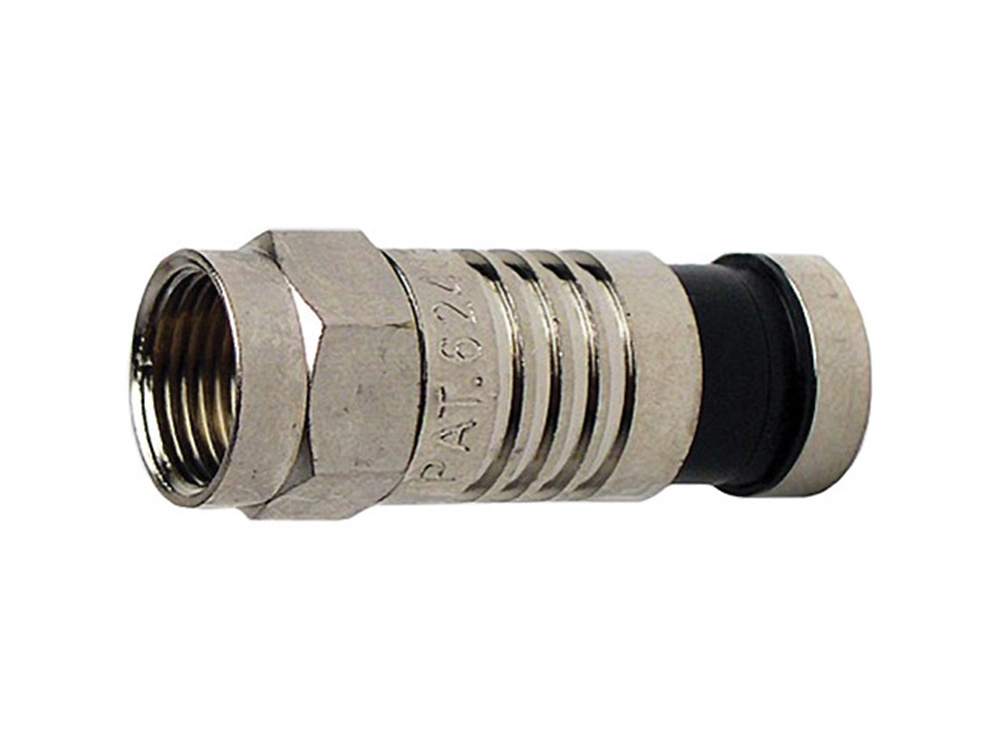 Platinum Tools F-Type Nickel SealSmart Coaxial RG6 Quad Connector (10 Pieces Clamshell)