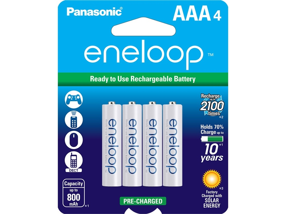 Panasonic Eneloop AAA Rechargeable Ni-MH Batteries (800mAh, Pack of 4)