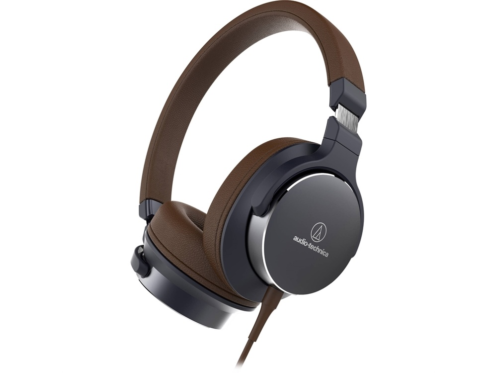 Audio Technica ATH-SR5BK On-Ear High-Resolution Audio Headphones (Navy/Brown)