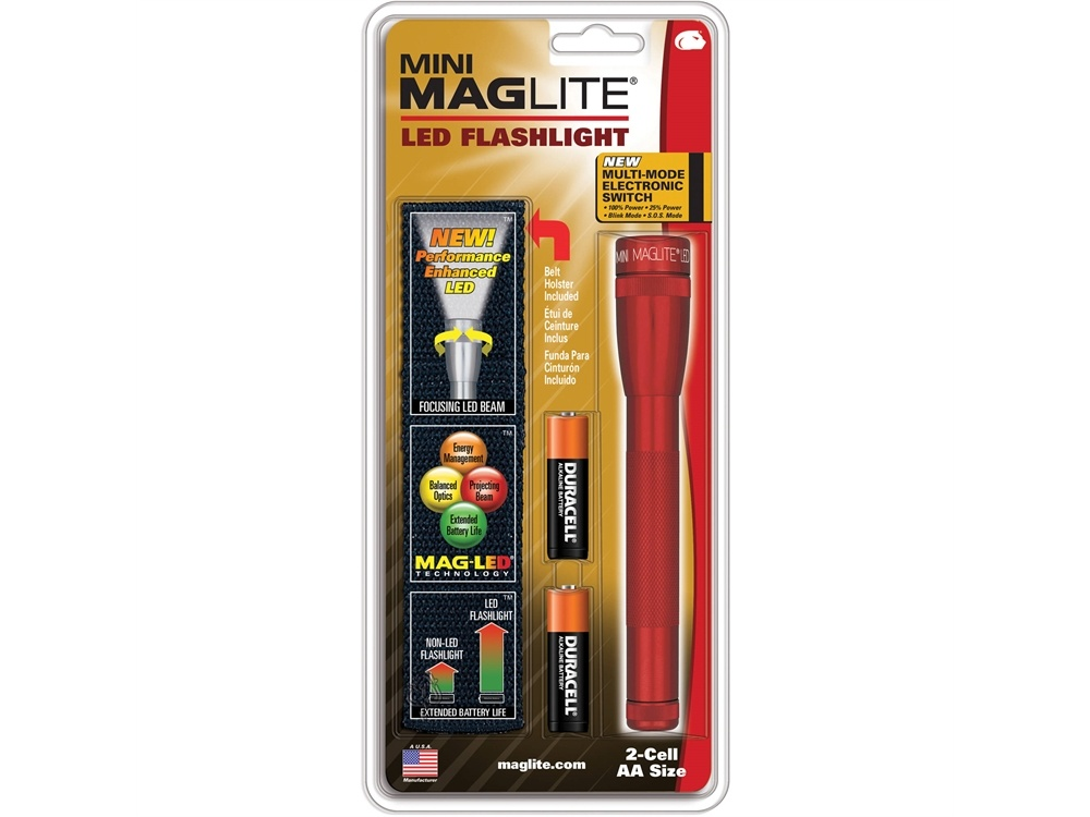 Maglite Mini Maglite 2AA LED Flashlight with Holster (Red, Clamshell)