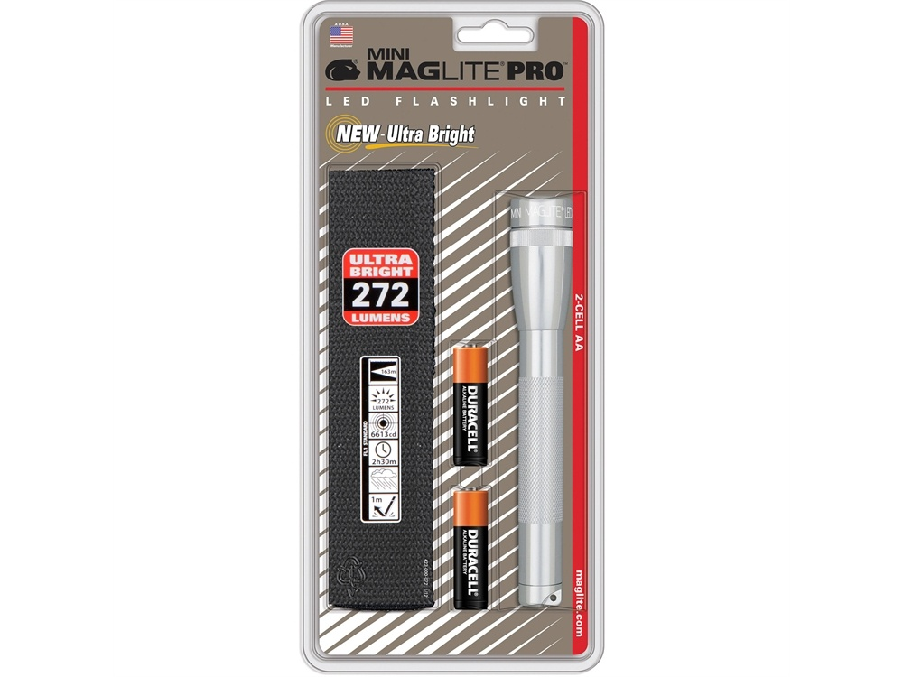 Maglite Mini Maglite Pro 2AA LED Flashlight with Holster (Silver)