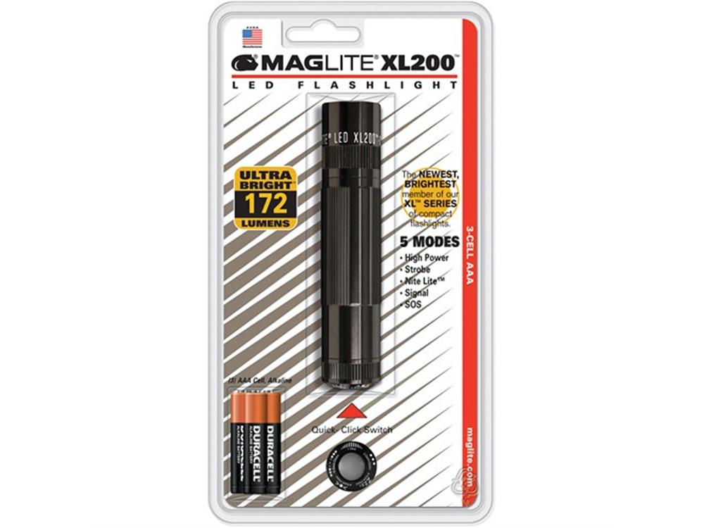 Maglite XL200 LED Flashlight (Black, Clamshell Packaging)