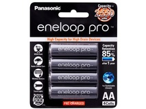 Panasonic eneloop pro AA Rechargeable Ni-MH Batteries (2550 mAh, Pack of 4)