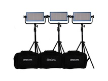 Dracast LED500 Pro Bi-Color LED 3-Light Kit with V-Mount Battery Plates and Stands